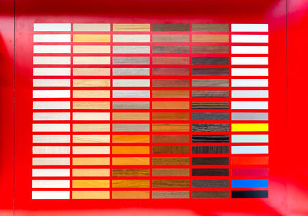 Flooring rubber clorful big palette on red background photo