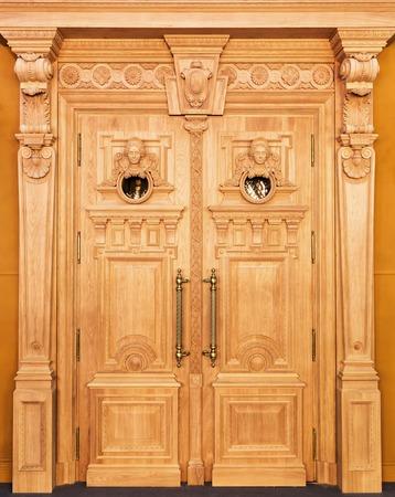 wood carving door: Classic interior and front wooden door Stock Photo