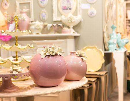 oxblood: Nice ceramic vases in luxury interior closeup picture