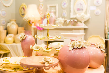 oxblood: Nice ceramic vases in luxury pastel colors interior closeup picture