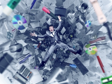 Afraid businessman is falling into office chaos abyss photo