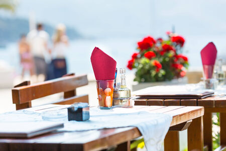 Sea view terrace of the nice cafe of Montenegro photo