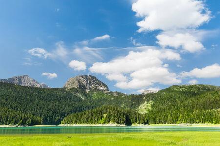 Panoramic view of blue lake in Durmitor National Park, Montenegro photo