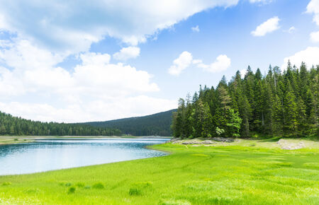 Beautiful panorama view of blue lake in Durmitor National\ Park, Montenegro