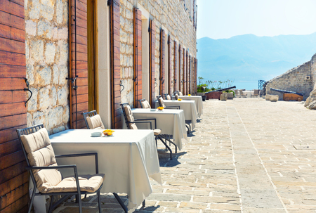 Sea view terrace in cafe of Montenegro photo
