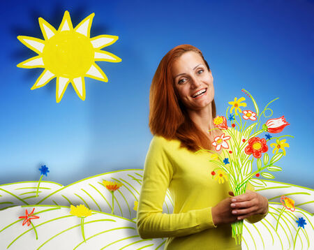 portrait young girl studio: Smiling happy young woman with bouquet of flowers on sunny cartoon background