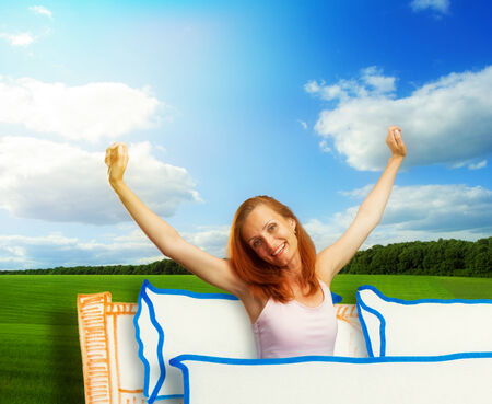 wake up happy: Nice morning of smiling young pretty woman on sunny cartoon background Stock Photo