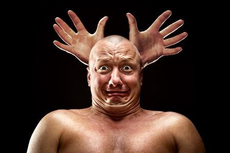 discomfiture: Stressed man looks like a deer