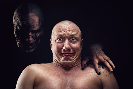 Portrait of bald scared man with nightmare Stock Photo