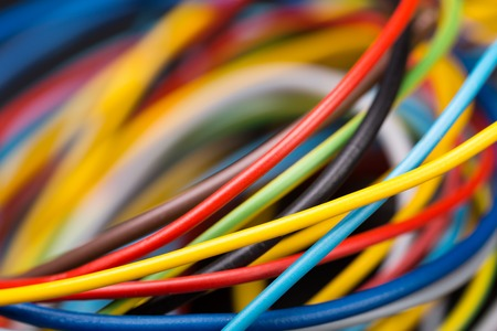 Colorful electrical cables closeup picture