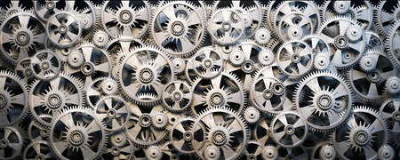 Background of 3d metal gears and cogwheels