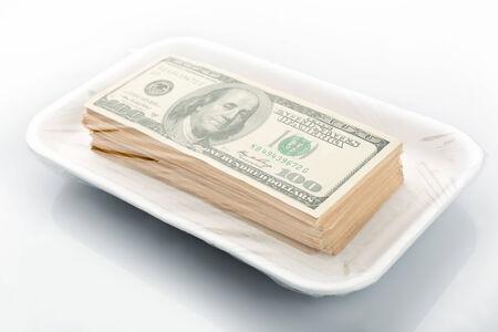 american dollar: Stack of american hundred dollar bills in vacuum packaging