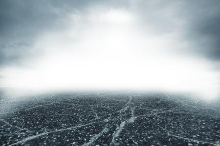 suspense: Gray road in dense thick fog