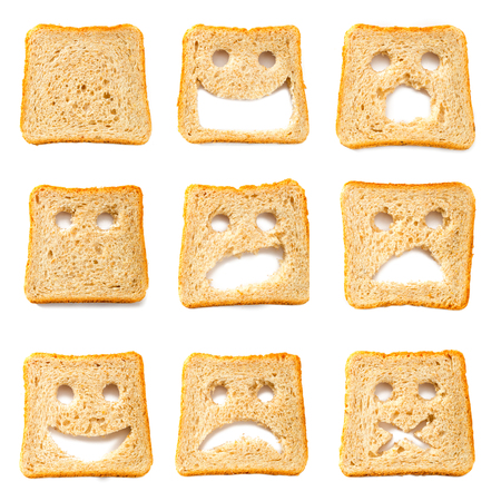 toast: Toasted bread slices for breakfast with funny faces