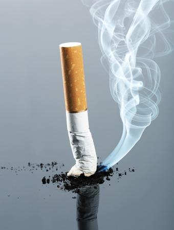 fumando: Tope de cigarrillo con el humo. Tonos de imagen