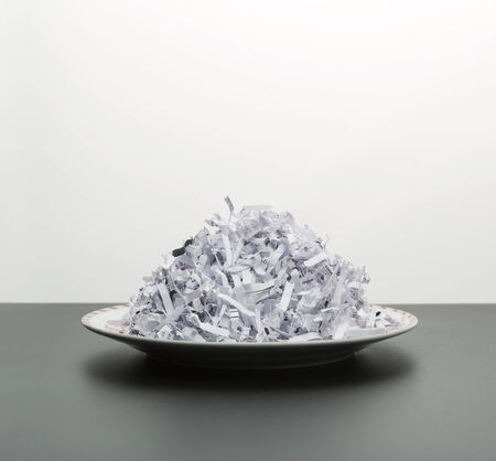 Plate of heap of white shredded papers isolated on white photo
