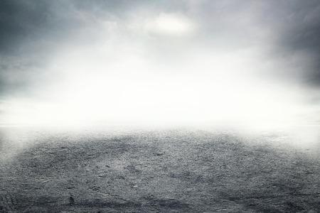 Road in dense thick fog Archivio Fotografico