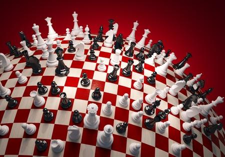 Ajedrez blanco y negro en el campo de ajedrez esfera grande
