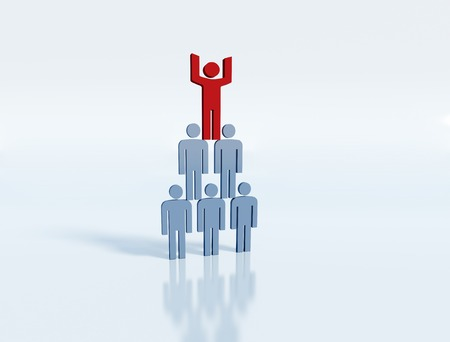Pyramid of people - business team concept, team leader with his group photo