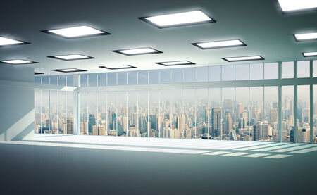 View of buildings from high rise window, beautiful expensive real estate Stock Photo