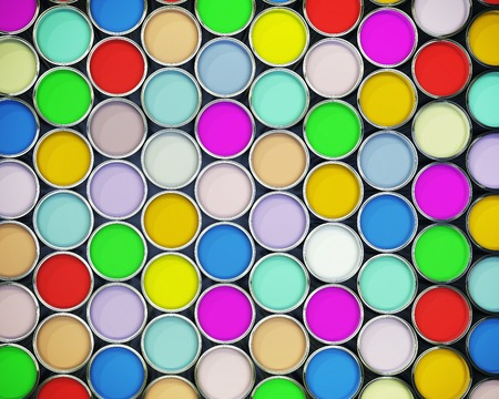 Beautiful 3d background of colorful paint cans photo
