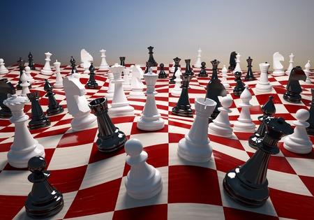 チェス白と黒で大きな手を振っているチェスのフィールド 写真素材