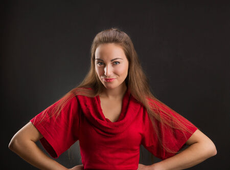 flirty: Portrait of flirty playful girl