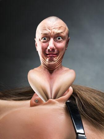 bizarre: Bizarre man stucks in an ear