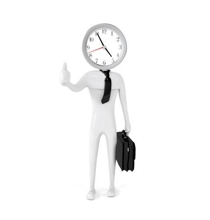 punctual: Empleado de la oficina puntual con una maleta