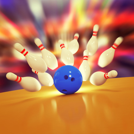 sphere standing: Illustration of spread skittles and bowling ball on wooden floor Stock Photo