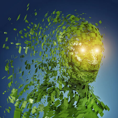 mental confusion: Human head silhouette with  a lot of green pieces and twinkled eyes