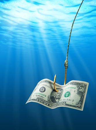 dollaro: Dollaro sul gancio nel mare