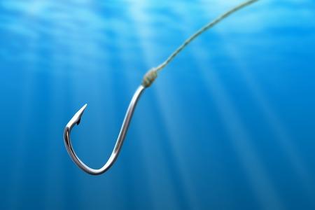Pêche crochet dans la lumière de la mer Banque d'images