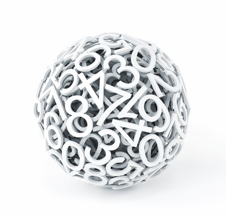 Random numbers forming a sphere on white background photo