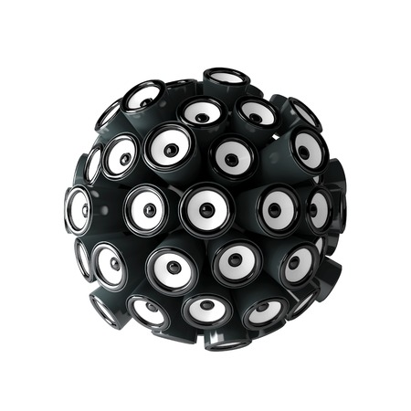 speaker box: Loudspeakers forming a sphere isolated on white