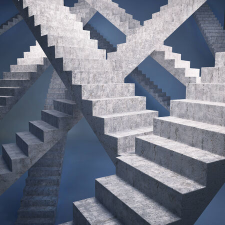 staircases: Many staircases to the main goal on blue background