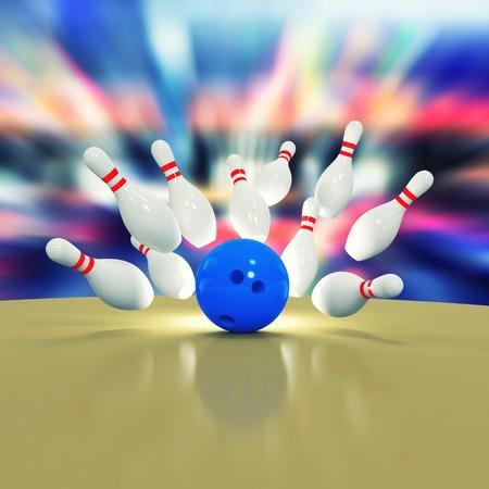Illustratie van versnipperde kegelen en bowling bal op houten vloer