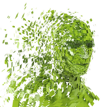 Human head silhouette with  a lot of green pieces photo