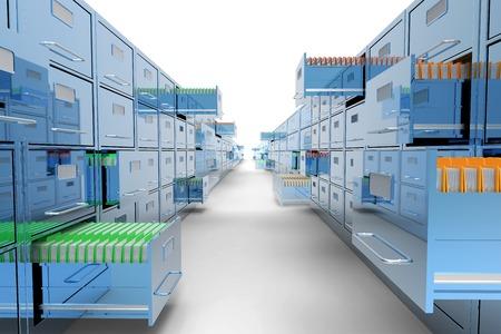 Klassieke blauwe archiefkast op een witte achtergrond Stockfoto - 34138450