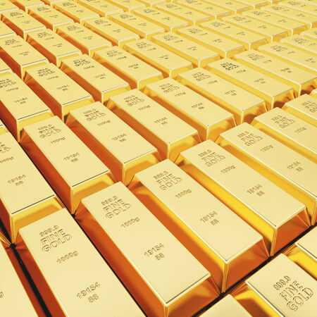 ownership and control: Lots of gold bars in rows Stock Photo