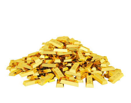 Big heap of gold bars Stock Photo