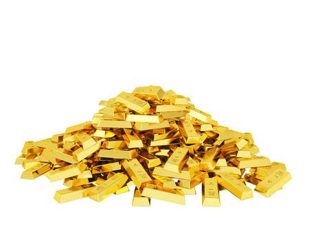 gold bar: Big heap of gold bars Stock Photo
