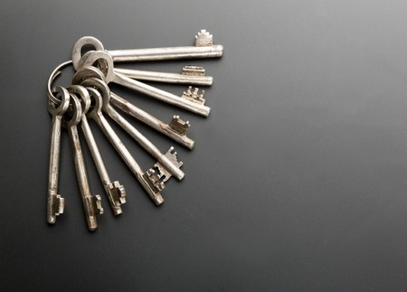 bunch up: Bunch of keys on grey background