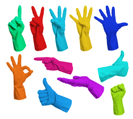 Set of colorful gloves hand signs isolated on white background photo