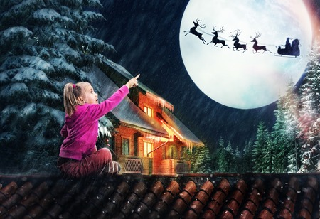 roof light: Girl sits on the roof in The Christmas eve pointing to the deer in the sky