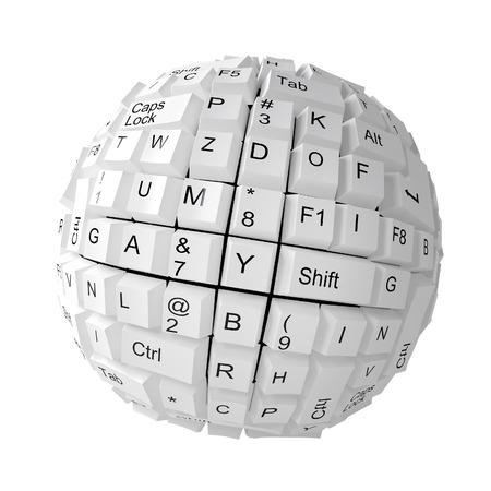 Random keyboard keys forming a sphere on white background Stock Photo