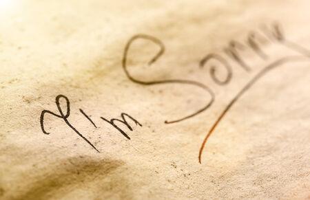 Black inscription Im Sorry on the dark piece of paper