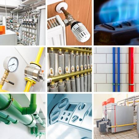 central: Different illustration of modern heating system Stock Photo