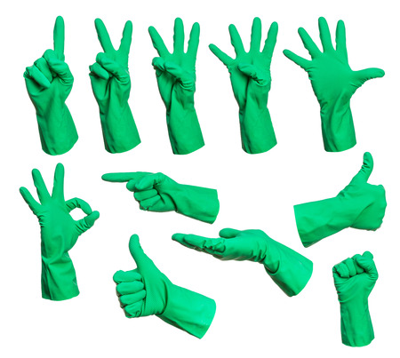 health collage: Set of rubber gloves hand signs isolated on white background