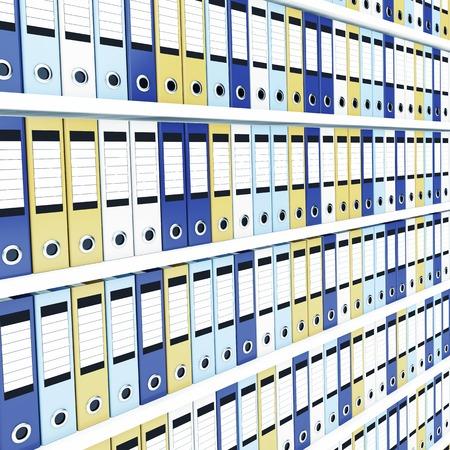 file box: Many office folders on shelves